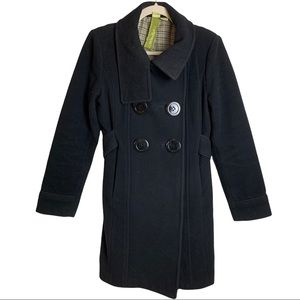Soia & Kyo Women's Black Wool Peacoat Size Small Made In Canada